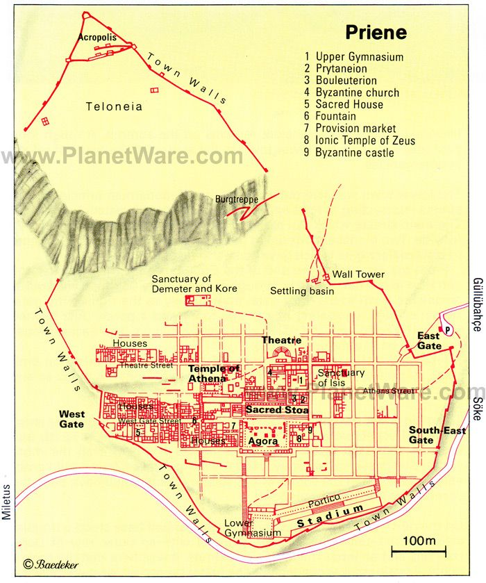 URBAN PLANNING; Grid plan of Priene, Turkey (3rd century ...