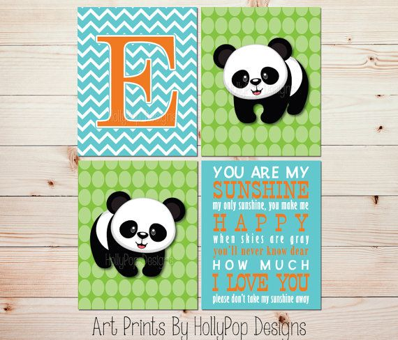 Nursery Art Prints You are My Sunshine Panda Bear Décor by HollyPopDesigns, $40
