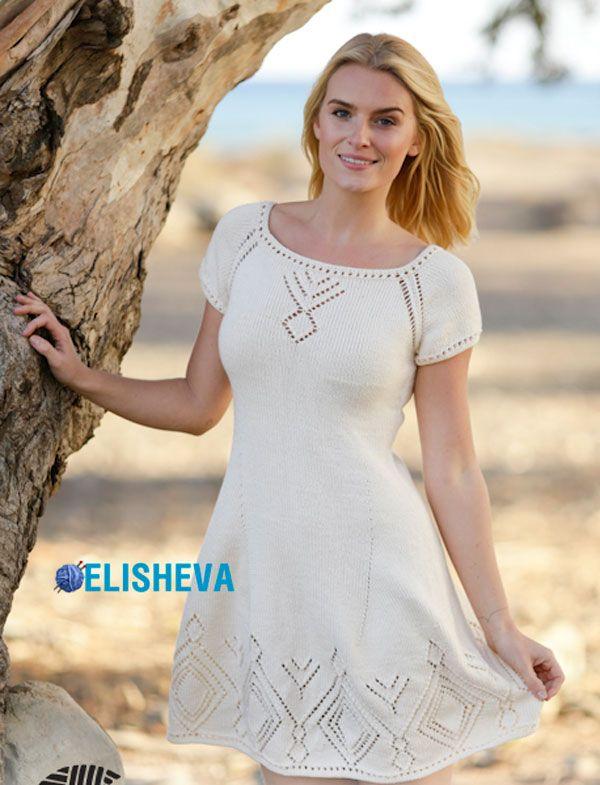 Короткое, летнее платье от Drops Design с ажурными ромбами и регланом, вязаное спицами | Блог elisheva.ru