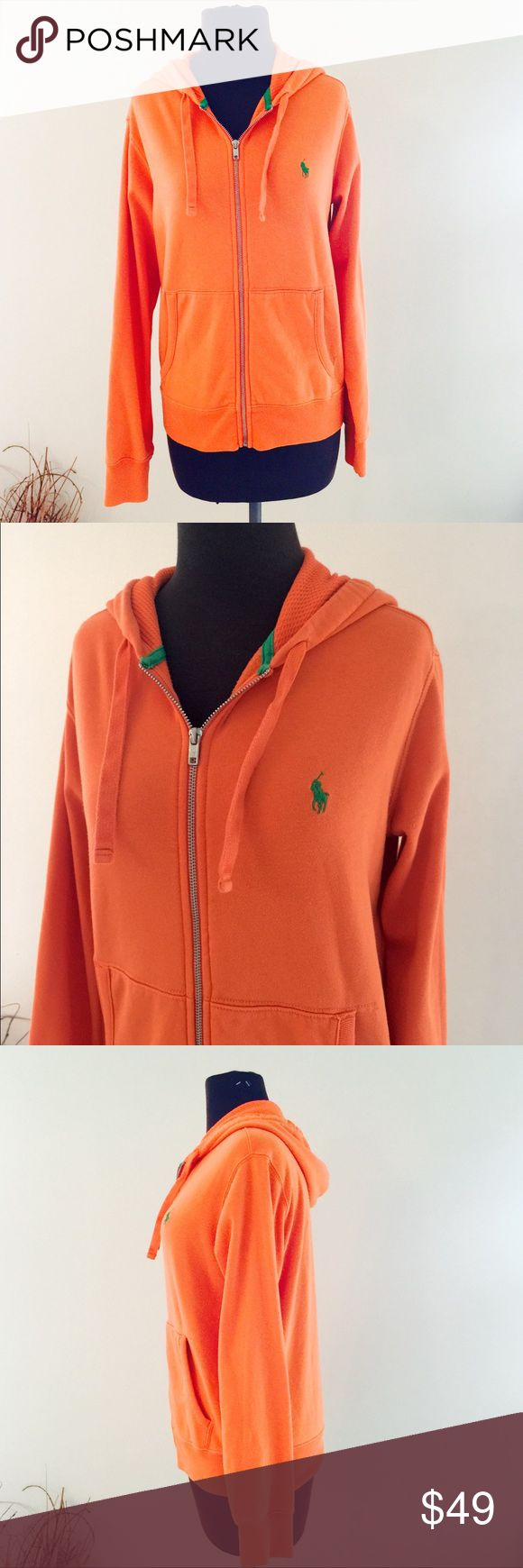 ❗️Ralph Lauren Orange Zip Up Hoodie MSRP $118 ❗️Ralph Lauren Orange Zip Up Hoodie with green accents. Retails $118. Size small. Feel free to make an offer! I'm giving to the first reasonable offer I receive & give great bundle deals! Moving cleanout sale--all must go! ;-) Ralph Lauren Tops Sweatshirts & Hoodies