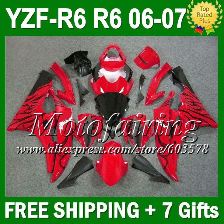Черный 7 подарок + тела для YAMAHA YZFR6 06-07 YZF R6 YZF600 2006 2007 L96211 YZF 600 YZF-R6 06 07 YZF R 6 обтекателя черный красный