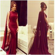 Sexy robe de bal robe longo de festa sirène longue vin rouge en mousseline de soie manteau col haut Lady Prom Party robe de soirée robes PS54(China (Mainland))
