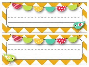 BIRD & CHEVRON DESK TAGS & NAME PLATES - TeachersPayTeachers.com