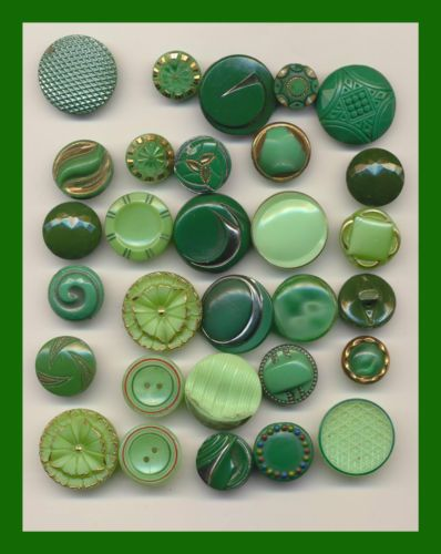 Assorted Designs - Thirty Vintage Small Green Glass Buttons