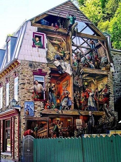 Quebec, Canada - Bldg. mural