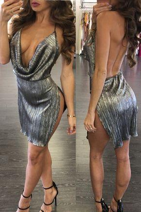 Usa Women Silver Party Spaghetti Strap Cocktail Evening Clubwear Bodycon Dress Z