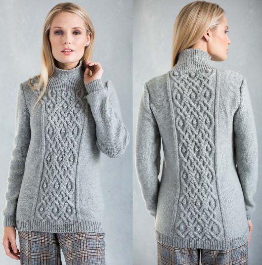 Элегантный вязаный свитер Cable Panel Домоседка