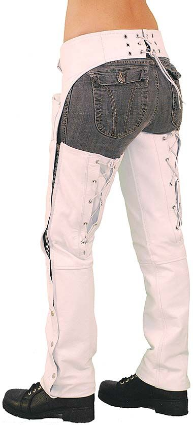 Jamin' Leather White leather chaps with adjustable back lacing. Features small lap pocket, zip covers and four snap bottom. Jamin' Leather Exclusive! #C6028LLW