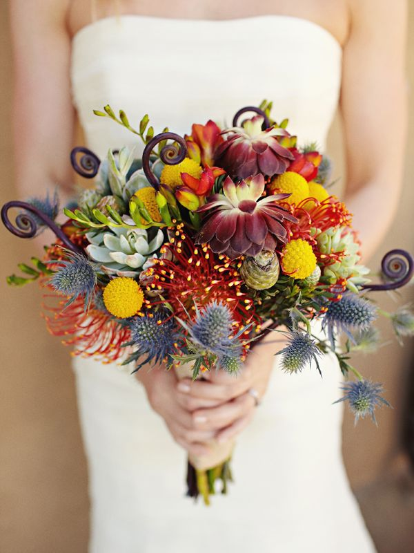 succulent and pin cushion protea bouquet (photo by Sarah Rhoads)
