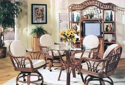 New Kauai Swivel Tilt Caster Dining Set From South Sea