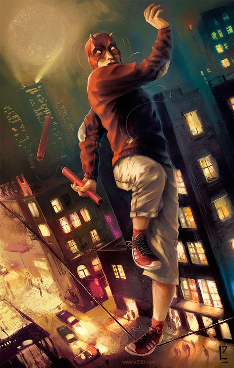 I like this because it's a very awkward, not innately badass Daredevil, almost teenagery.