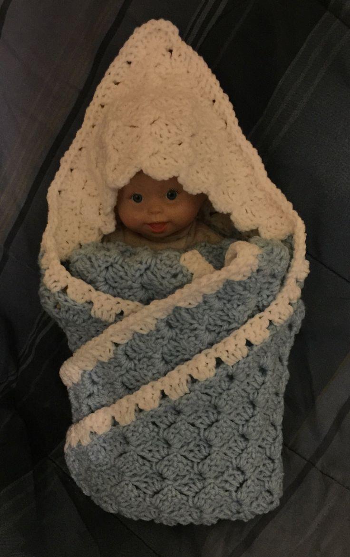 hooded swaddling blanketcrocheted baby boy blanket with