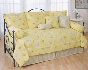Laura Yellow Floral & Plaid Daybed Comforter Set - 5, 7, 10 or 13 pc sets sale!   #DelectablyYoursDecor Daybed Sets