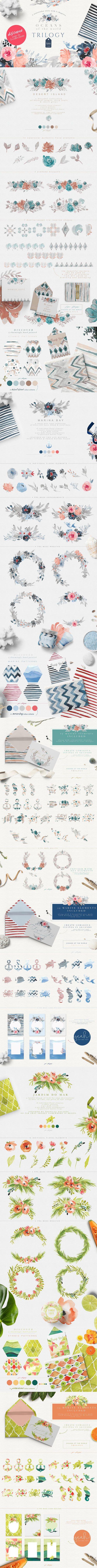 #Oceans of the World #Watercolor Trilogy Set! ( #vector #illustrations #wedding #art #decor #branding #creative #printable )