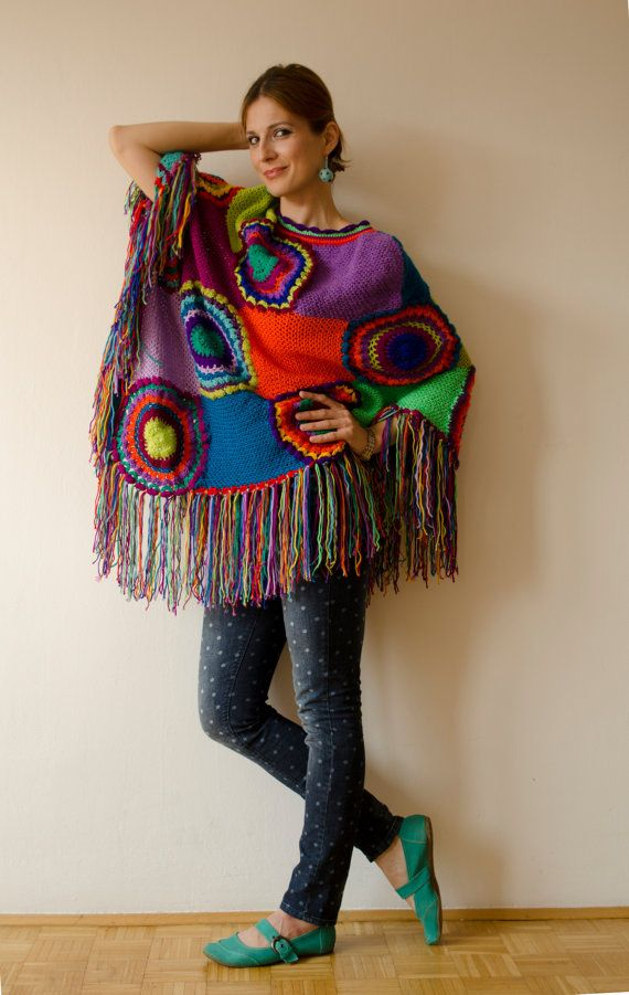 Poncho, Women Cape, Boho Multicolored - READY FOR SHIPPING