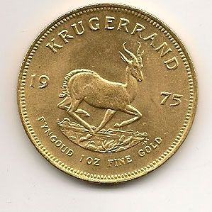 Moneda de oro Krugerrand 1 onza de oro puro Sud Africa.