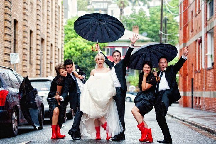 Rainy wedding day - red rain boots