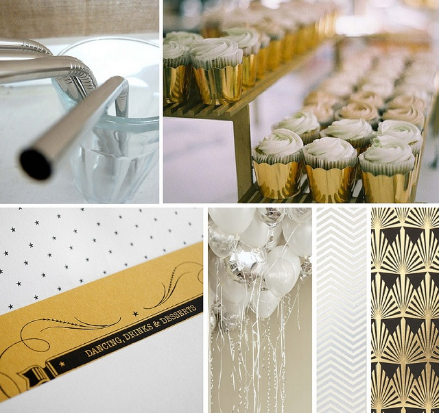 Glam cupcakes??? Sarah N. has a balloon business??? Love the white/silver: Theme Boards, Birthday Inspiration, 2014, Party Entertaining Ideas, Metallics Birthday, Balloon Business, Theme Ideas, Party Theme, Oscar Party