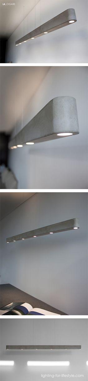 Fancy LA CIGARE ist eine neue direkt indirekt strahlende LED Betonleuchte Ihr schlankes und kompaktes Leuchtendesign