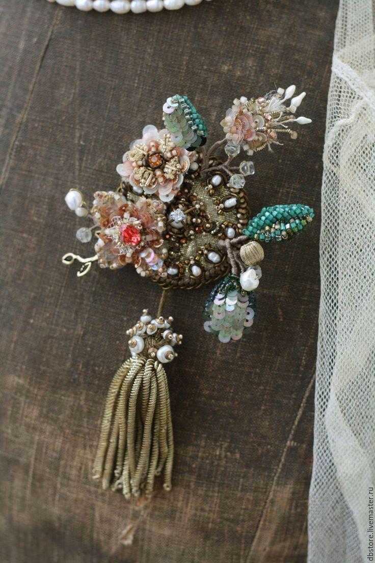 """Купить Брошь """"Весенний букет"""" - коралловый, цветы, брошь, необычное украшение, брошь с жемчугом"""