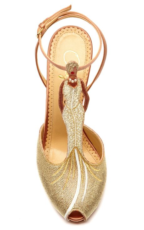 Mae West Woven and Satin T-Bar Sandals by Charlotte Olympia