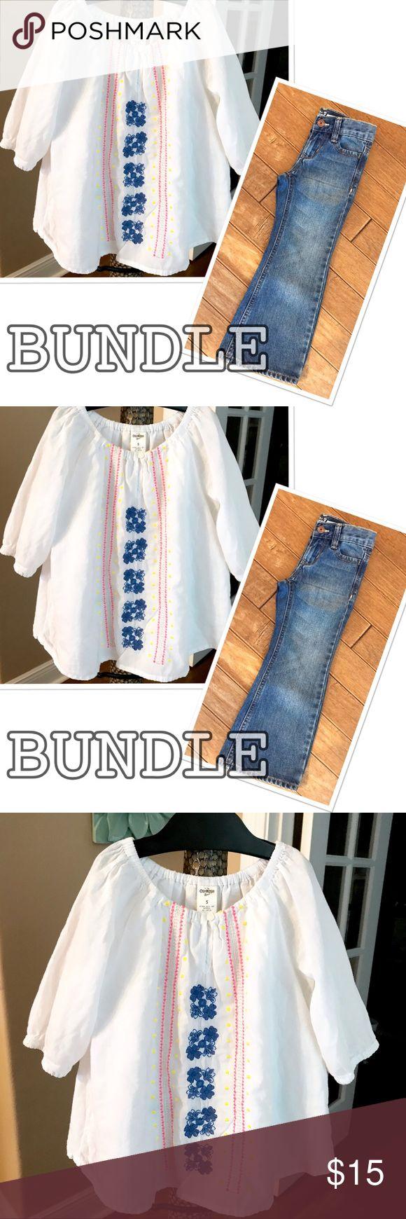 OSHKOSH Bundle Blouse & Bootcut Jeans 4/5 White peasant blouse & bootcut jeans. Excellent Condition! 🚭 OshKosh B'gosh Matching Sets