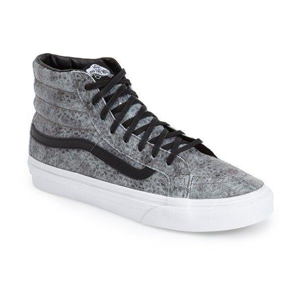 Vans 'Sk8-Hi Slim' Sneaker ($65) ❤ liked on Polyvore featuring shoes, sneakers, vans sneakers, skate sneakers, lacing sneakers, vans shoes and polish shoes