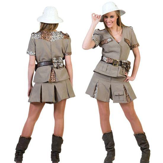 Safari dames outfit. Deze sexy dames outfit bestaat uit een jasje, rokje en een riem. Exclusief hoed. Carnavalskleding 2015 #carnaval