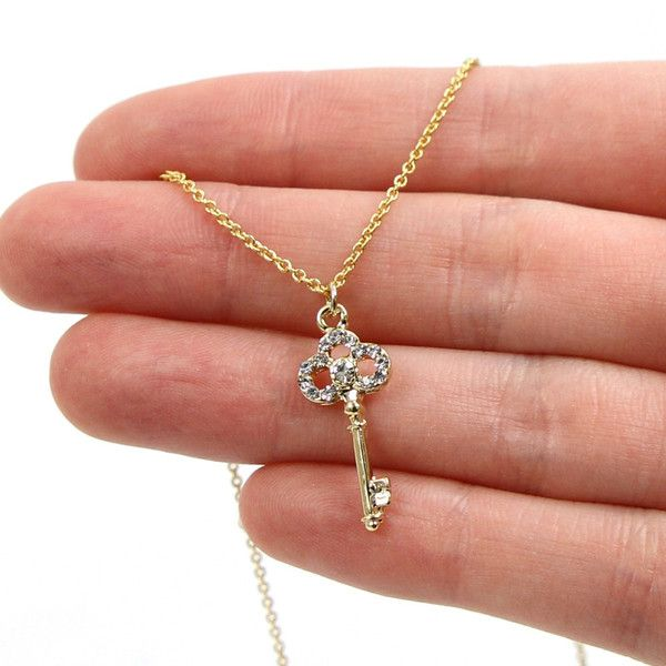 Mini Rhinestone Key Necklace - Gold