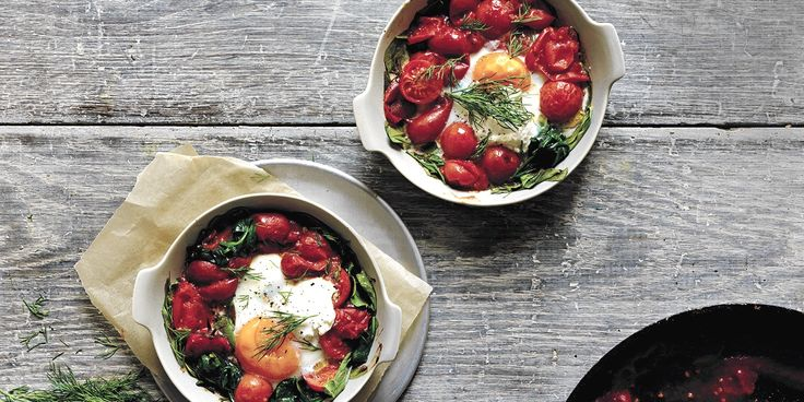 Baked Eggs with Spinach + Labneh