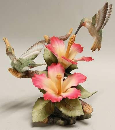 Sadek Two Hummingbirds with Hibiscus Porcelain Figurine