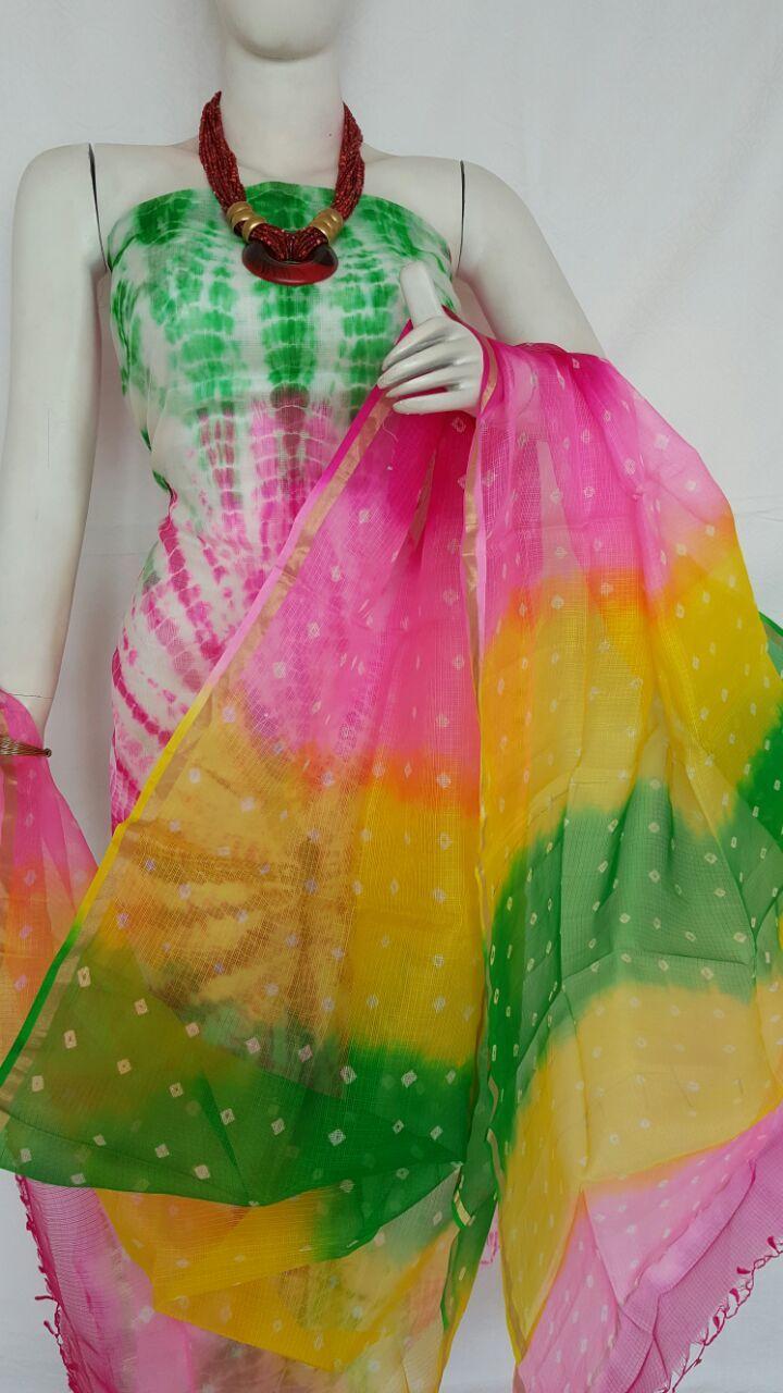 Multi Colored Wonderful Pure Kutta Silk Kurit With Dupatta
