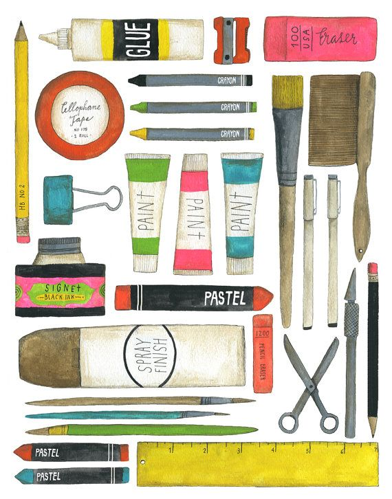 Lovely print of a collection of art supplies! Based on a gouache painting. 11x14 inches.    Full color, archival inks.    Signed and dated.