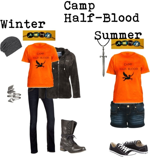 """""""Camp half-blood"""" by lillyred on Polyvore. Except... why are there only four beads on the necklaces??"""