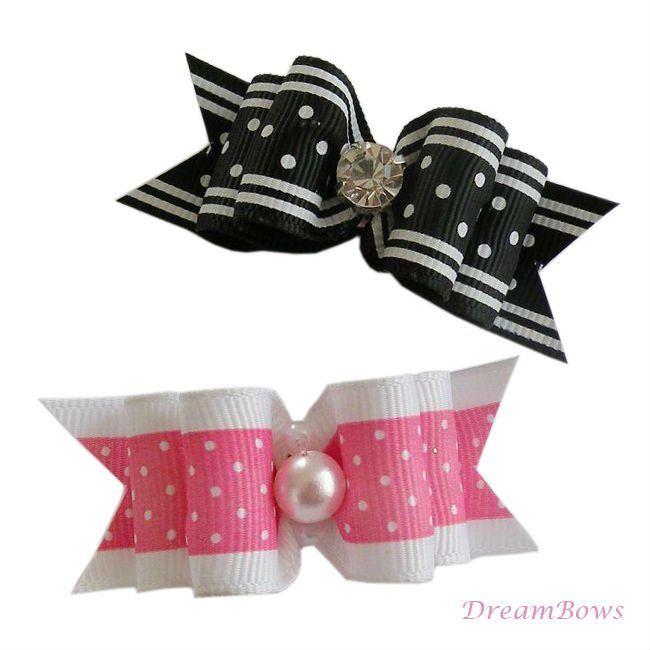 Handmade Hair Bows | ... dogs Mini cute style Ribbon Bow DB292. Dog hair bows, Designer dog