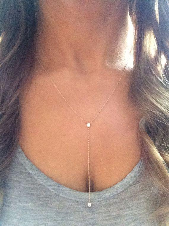 14k solid gold lariat necklace drop necklace Y by NOSTALGII