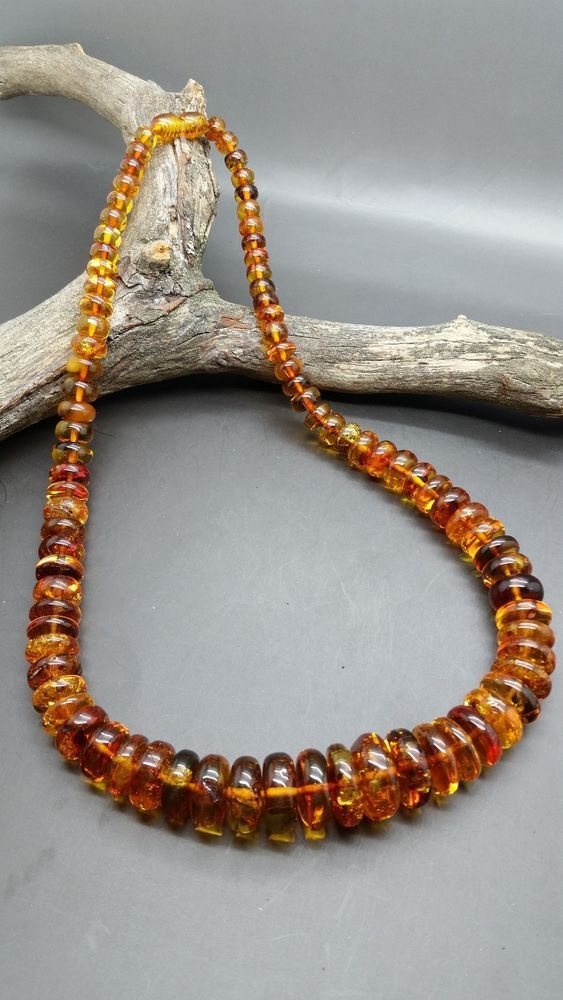 Beautiful Genuine Baltic Amber Necklace Cognac #Unbranded