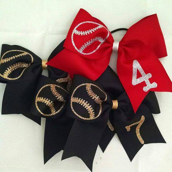 Softball bows!  https://www.etsy.com/listing/224865860/softball-bow-custom-softball-bow-you