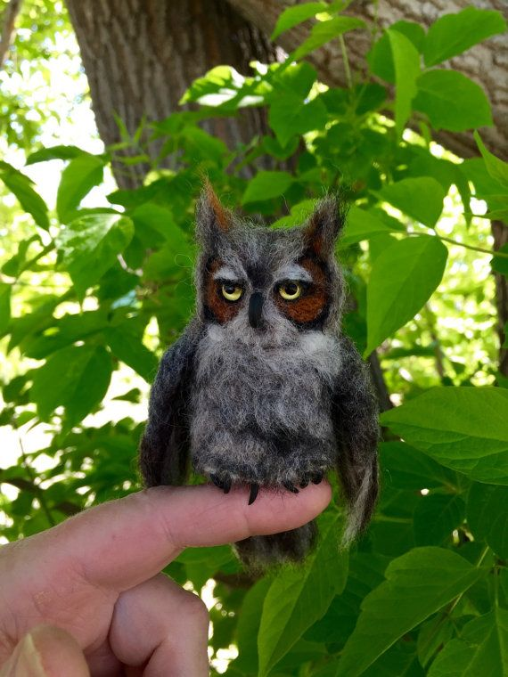 Needle Felted Great Horned Owl by Julie King 2015