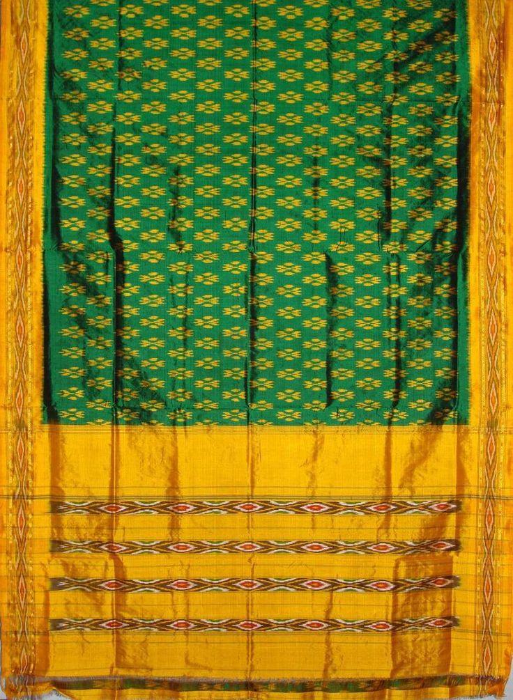 Chloe House - Green @ http://www.chloehouse.in/green-yellow-pochampally-silk-saree/