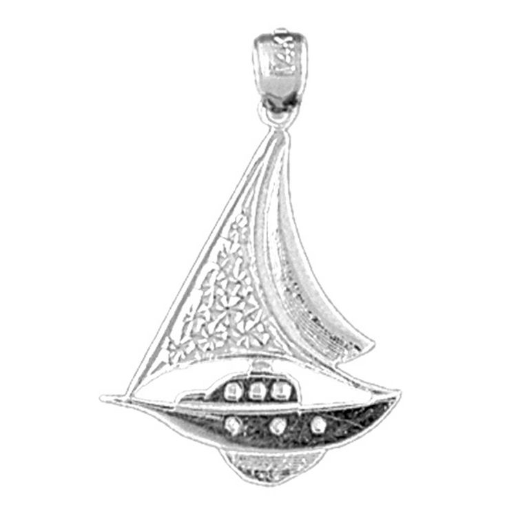 14K White Gold Sailboat Pendant - 27 mm. Does Not Include Chain. 30 Day Money Back Guarantee. Manufactured by JewelsObsession with the highest quality 14k white gold. Pendant Gram Weight: 1.3 / Does Not Include Chain. Pendant Dimension: Length: 27 mm x Width: 19 mm.