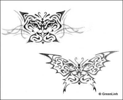 White Tiger Butterfly Tattoo