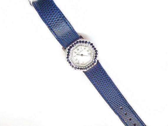 Lucien Piccard Diamond Sapphire Watch 14k White by ArtDecoAntiques