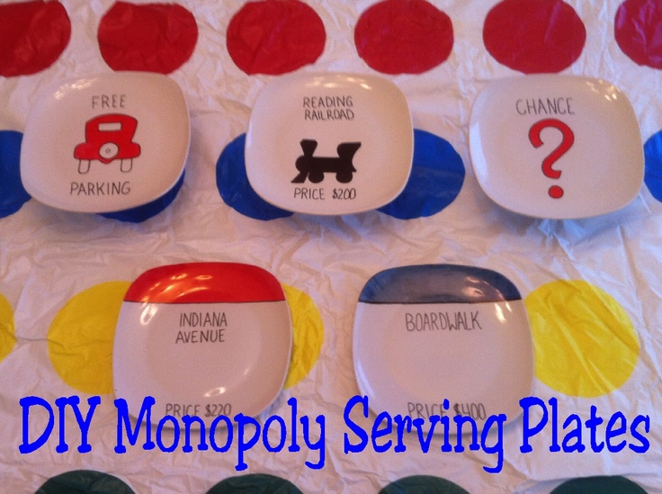 Monopoly Game Night Serving Dishes