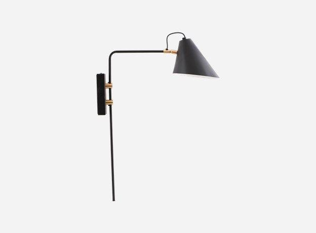 Cl0800 - Væglampe, Club, Sort/Hvid, Dia.: 18-20 cm h.: 54 cm l.: 22 cm, E27 max 25 watt, 2,50 m. ledning