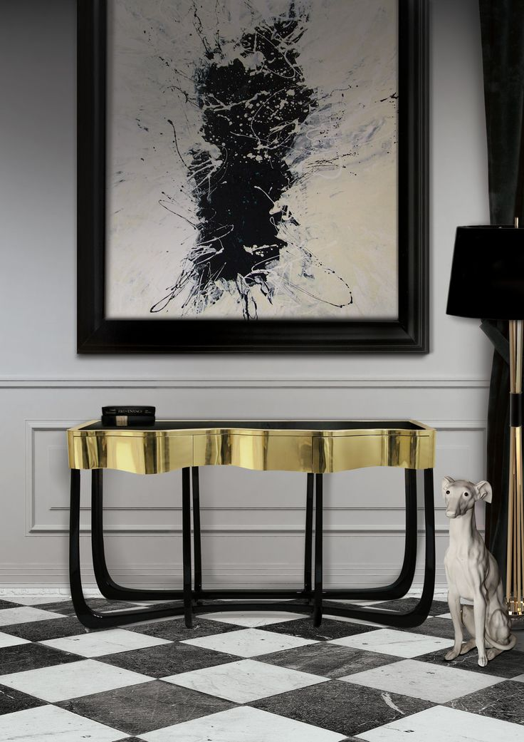Handcrafted structure made from mahogany with a high gloss black lacquer finish.  Check this console's true colors at Maison et Objet 2017.  http://www.bocadolobo.com/en/master-bedroom-collection/nightstands/sinuous-nightstand/