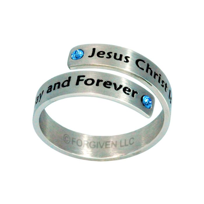 Stainless Steel Jesus Christ Ring with blue crystal stones (6-9) RG8