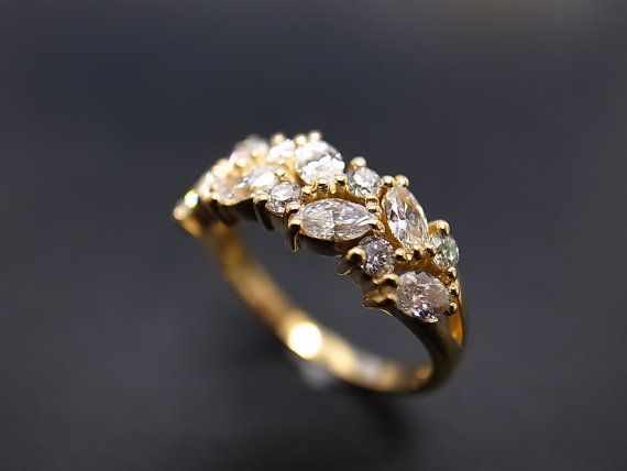 Noces de diamant marquise bague en 14K or jaune par honngaijewelry