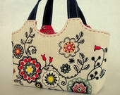NEW OOAK DESIGN / Folklore flower embroidery small Tote Hand Bag