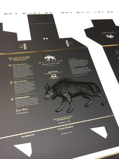 Wolfburn whisky cartons in production.   #PackagingProduction…
